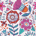 Es Grüssen Die Blumen Und Schmetterlinge Nahtloses Vektormuster