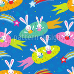Dreamship Bunny Seamless Vector Pattern Design