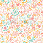 Butterflies And Flowers Awakening Seamless Vector Pattern Design