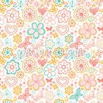 Schmetterlinge Und Blumen Erwachen Nahtloses Vektormuster