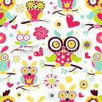 Owl Family Seamless Vector Pattern Design