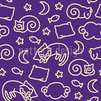 Sleepy Cats Seamless Vector Pattern Design
