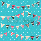 Garlands On Polkadots Seamless Vector Pattern Design
