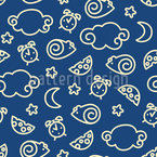 Good Night Little Mouse Seamless Vector Pattern Design