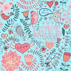 Mein Valentinsvögelchen Nahtloses Vektor Muster