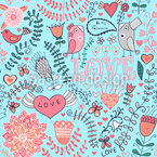 My Sweet Valentine Bird Seamless Vector Pattern Design