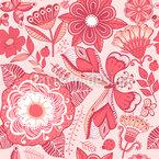 Schmetterling Und Blume Fantasie Nahtloses Vektormuster