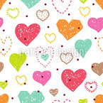 Julia Is Painting Hearts Seamless Vector Pattern Design