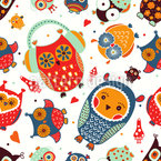 The Sweetest Owls Seamless Vector Pattern Design