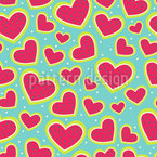 I Am So Wild About Your Strawberry Heart Seamless Vector Pattern Design