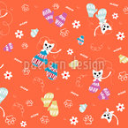 Kittens In Mittens Seamless Vector Pattern Design