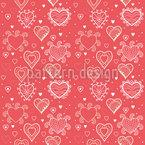 Romantik Mit Herz Nahtloses Vektormuster