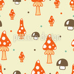 The Mushrooms In The Woods Seamless Vector Pattern Design