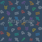 Zodiac Signs Mix Seamless Vector Pattern Design