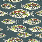 Polynesian Fish Seamless Vector Pattern Design