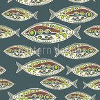 Polynesische Fische Nahtloses Vektormuster