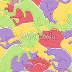 Cuddle Cats Seamless Vector Pattern Design