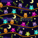 A Night At The Owl Hotel  Seamless Vector Pattern Design
