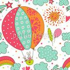 Häschens Ballonfahrt Nahtloses Vektormuster