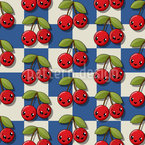 Kawaii Cherry Couples Vector Pattern