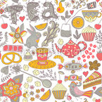 Funny Tea Party In Wonderland Seamless Vector Pattern Design