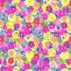 Summer Flower Meadow Seamless Vector Pattern Design
