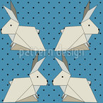Origami Rabbits On Polkadots Seamless Vector Pattern Design