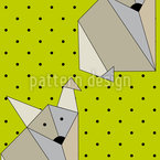 Origami Fox Dot Seamless Vector Pattern Design