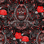 Death And Roses Seamless Vector Pattern Design