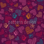 Universe Of Butterflies And Hearts Seamless Vector Pattern Design