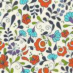 Folklore Flowers On Vases Repeat Pattern