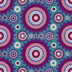 Floral Gear Circles Seamless Vector Pattern Design