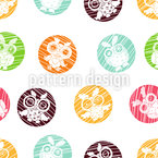 Eulen Vignetten Muster Design