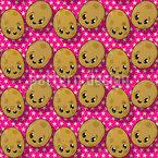Die Kleinen Kawaii Kartoffeln Nahtloses Vektormuster