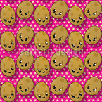 The Small Kawaii Potatoes Seamless Vector Pattern Design