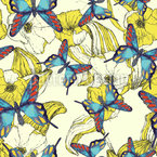 Blumenmeer Und Schmetterling Nahtloses Vektormuster