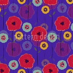 Poppy Flower Festival Seamless Vector Pattern
