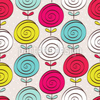 Lollipop Flowers Seamless Vector Pattern Design