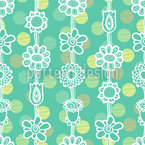 Flower Garlands On Dots Seamless Vector Pattern Design