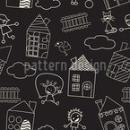 Leisure Fun With Chalks Seamless Vector Pattern Design