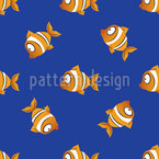 Clown Fish At Night Vector Pattern