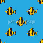 Reef Fish Formation Seamless Vector Pattern Design