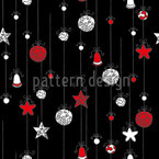 Squiggled Christmas Balls Vector Pattern