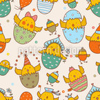 Russian Easter Chicks Seamless Vector Pattern Design