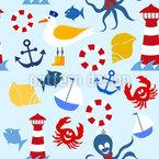 Meer und Strand Nahtloses Vektor Muster