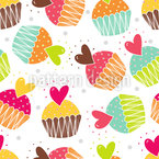 Muffins With Heart Seamless Vector Pattern Design
