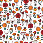 Julias Cute Garden Seamless Vector Pattern Design