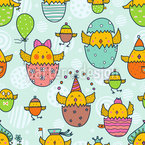The Russian Easter Chick Hatch Seamless Vector Pattern Design