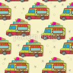 The Journey Of The Ice Cream Truck Seamless Vector Pattern