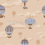 The Balloon Voyage Of The Montgolfier Brothers Seamless Vector Pattern Design